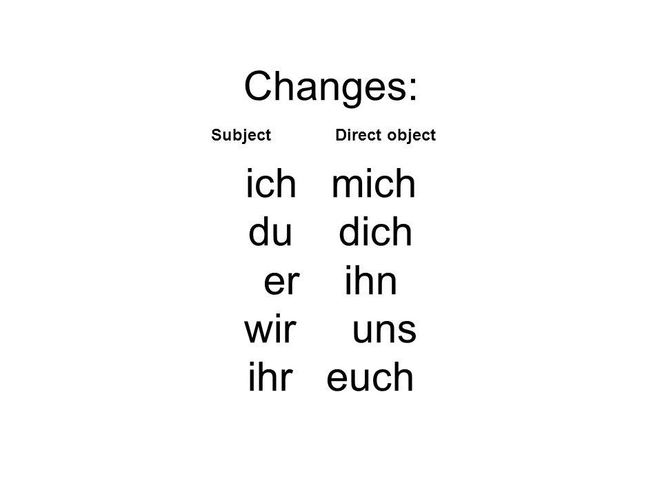 Changes: ich mich du dich er ihn wir uns ihr euch Subject Direct object