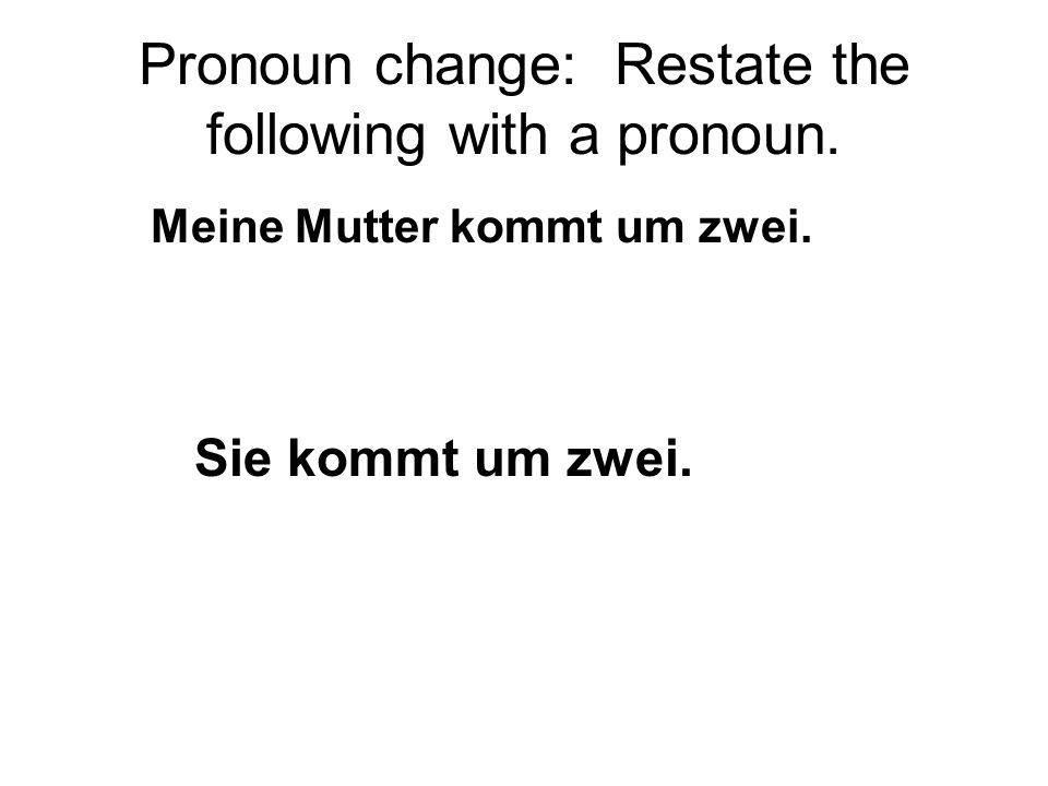 Pronoun change: Restate the following with a pronoun.