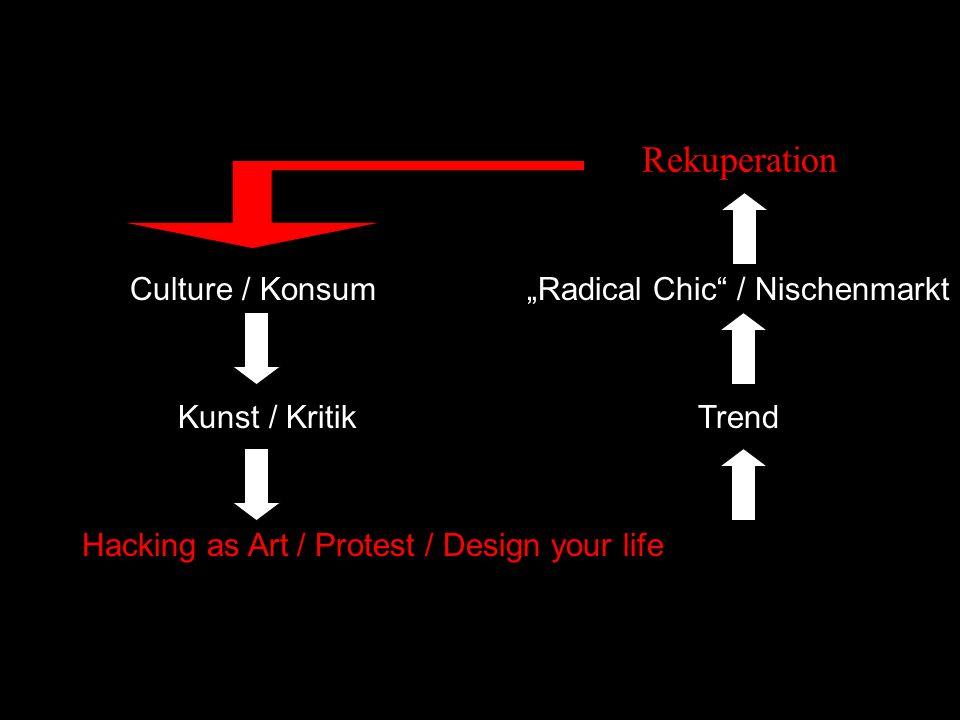 Hacking as Art / Protest / Design your life Culture / Konsum Kunst / KritikTrend Radical Chic / Nischenmarkt Rekuperation