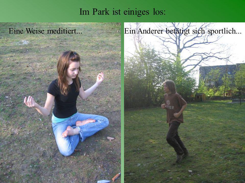 Im Park ist einiges los: Eine Weise meditiert...Ein Anderer betätigt sich sportlich...