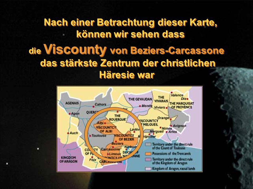 Nach einer Betrachtung dieser Karte, können wir sehen dass die Viscounty von Beziers-Carcassone das stärkste Zentrum der christlichen Häresie war die Viscounty von Beziers-Carcassone das stärkste Zentrum der christlichen Häresie war