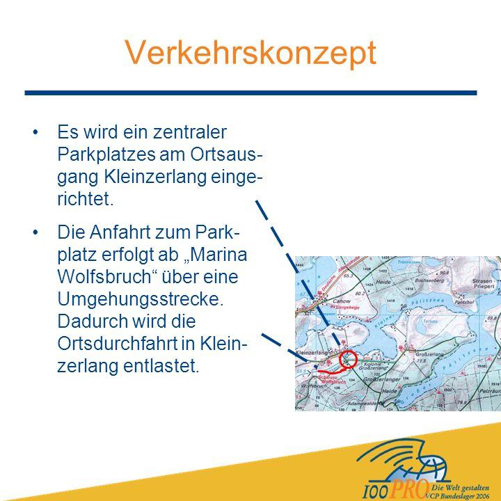 Verkehrskonzept Es wird ein zentraler Parkplatzes am Ortsaus- gang Kleinzerlang einge- richtet.