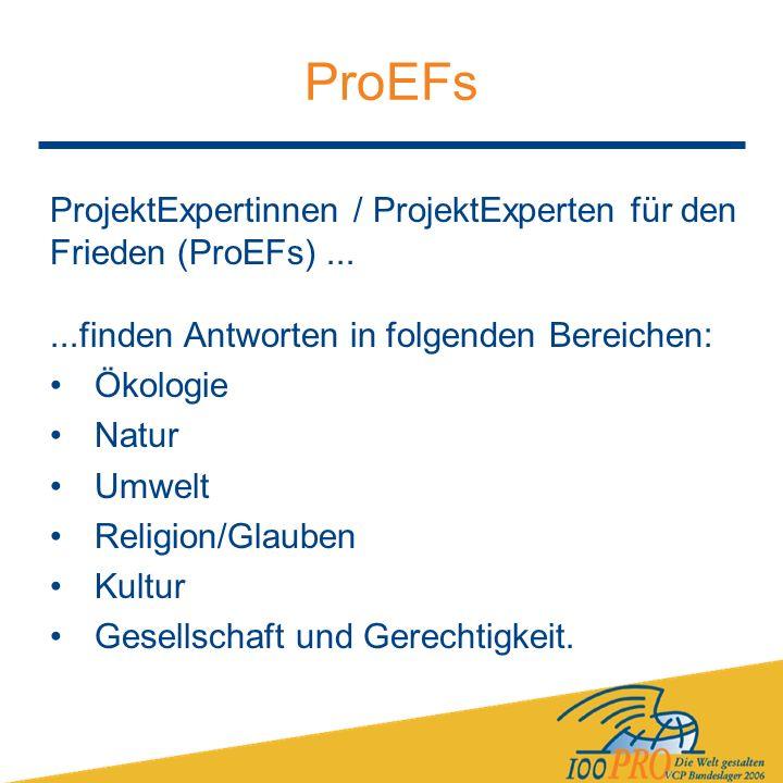 ProEFs ProjektExpertinnen / ProjektExperten für den Frieden (ProEFs)......finden Antworten in folgenden Bereichen: Ökologie Natur Umwelt Religion/Glauben Kultur Gesellschaft und Gerechtigkeit.