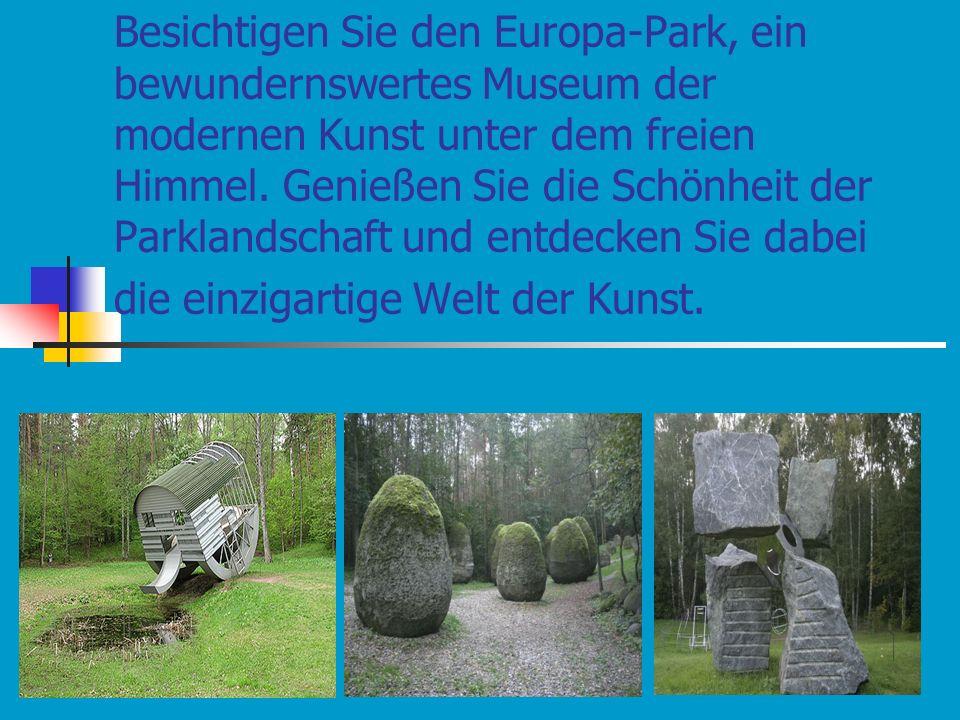 Besichtigen Sie den Europa-Park, ein bewundernswertes Museum der modernen Kunst unter dem freien Himmel.