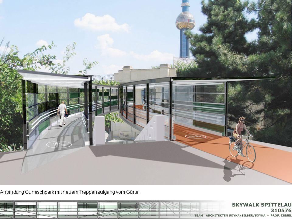 Anbindung Guneschpark mit neuem Treppenaufgang vom Gürtel