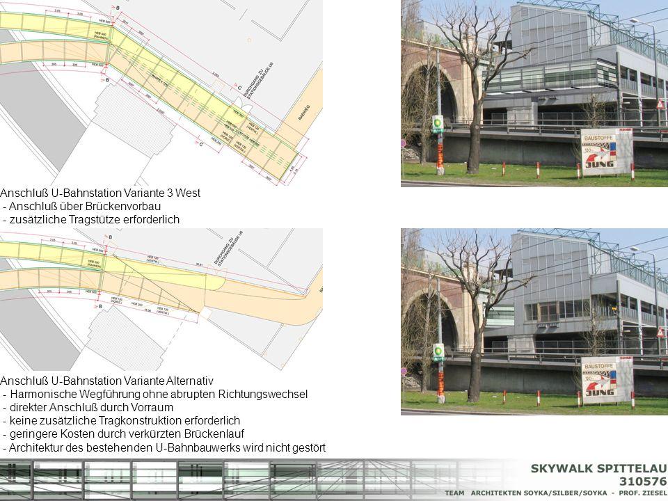 Anschluß U-Bahnstation Variante Alternativ - Harmonische Wegführung ohne abrupten Richtungswechsel - direkter Anschluß durch Vorraum - keine zusätzlic