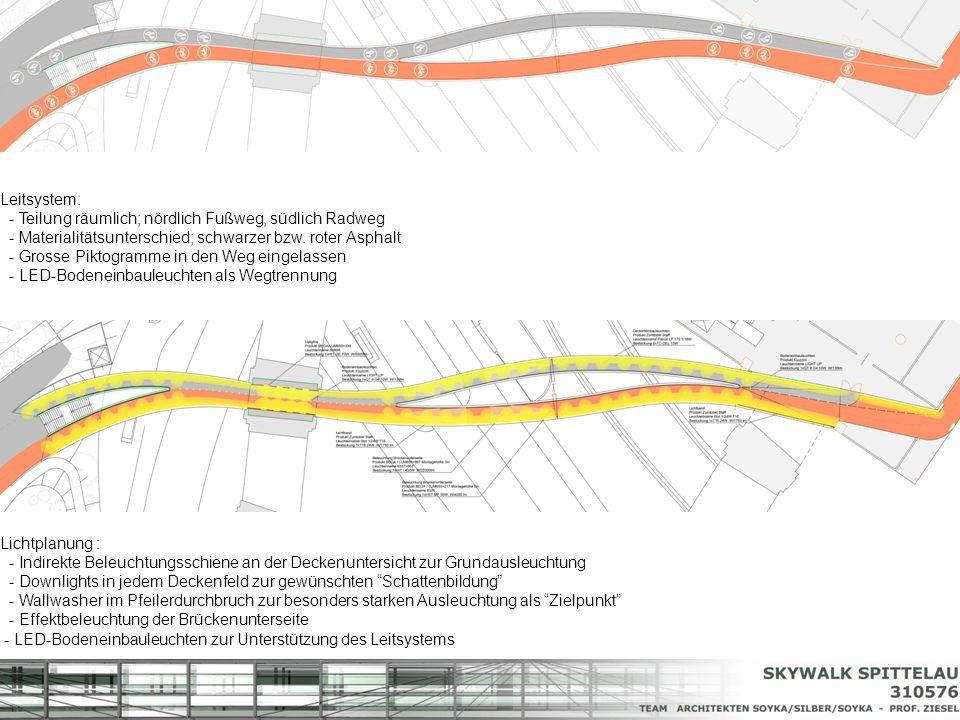 Leitsystem: - Teilung räumlich; nördlich Fußweg, südlich Radweg - Materialitätsunterschied; schwarzer bzw. roter Asphalt - Grosse Piktogramme in den W