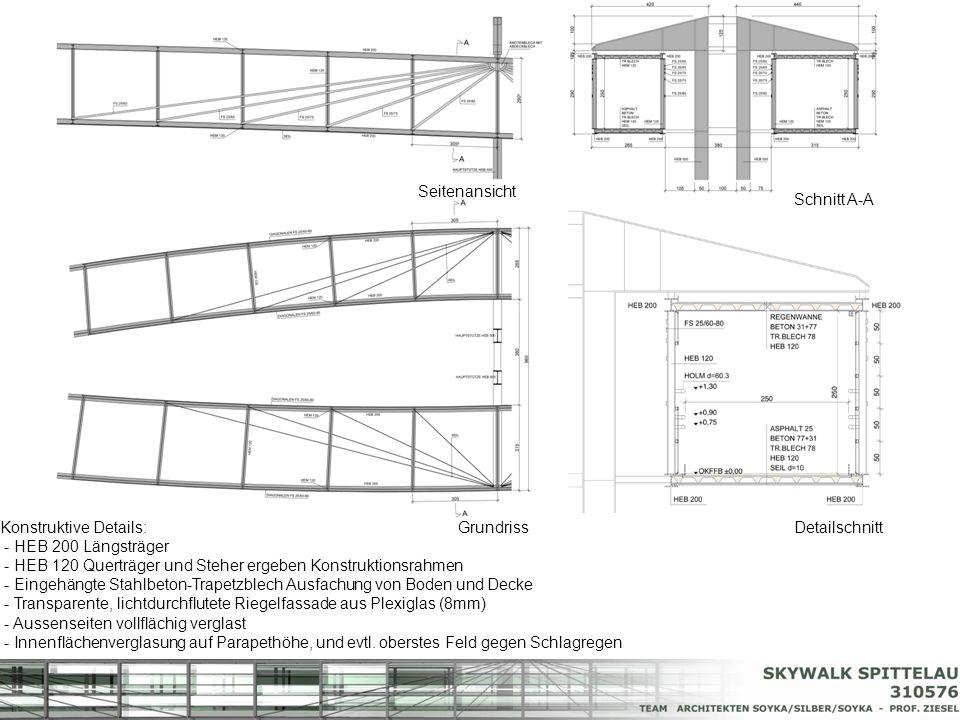 Konstruktive Details: - HEB 200 Längsträger - HEB 120 Querträger und Steher ergeben Konstruktionsrahmen - Eingehängte Stahlbeton-Trapetzblech Ausfachu
