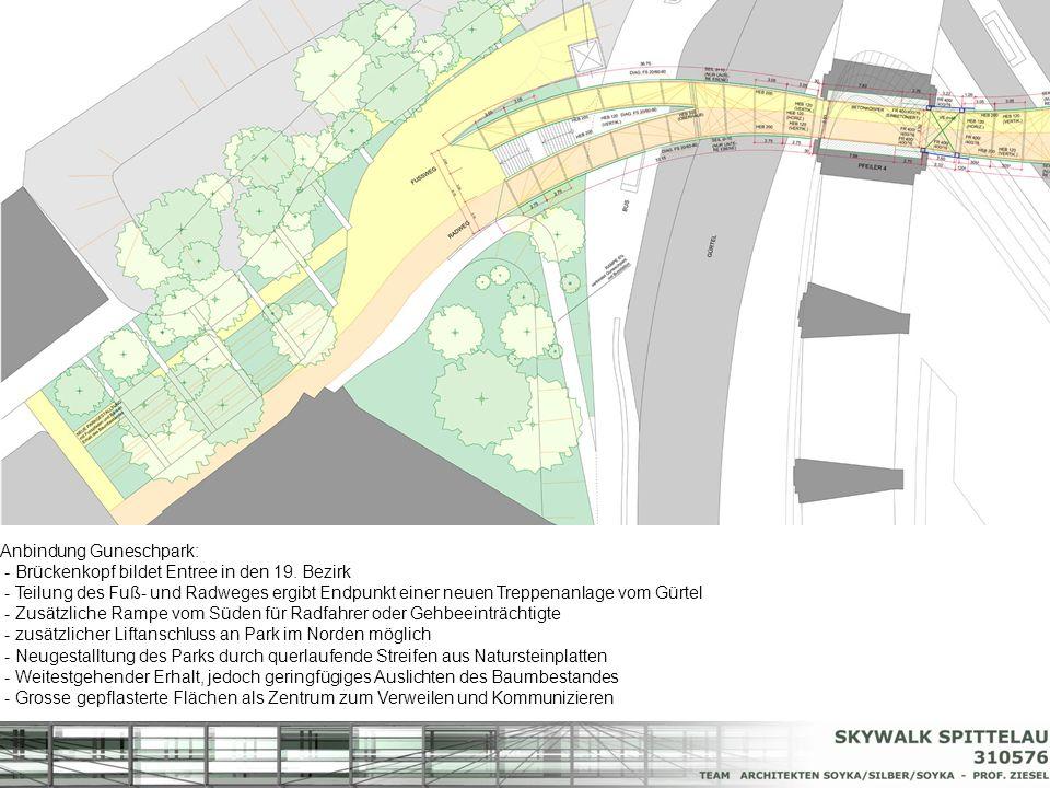 Anbindung Guneschpark: - Brückenkopf bildet Entree in den 19. Bezirk - Teilung des Fuß- und Radweges ergibt Endpunkt einer neuen Treppenanlage vom Gür