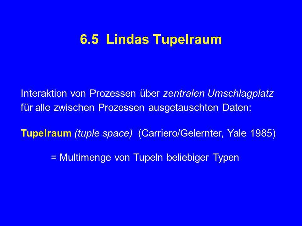 6.5 Lindas Tupelraum Interaktion von Prozessen über zentralen Umschlagplatz für alle zwischen Prozessen ausgetauschten Daten: Tupelraum (tuple space) (Carriero/Gelernter, Yale 1985) = Multimenge von Tupeln beliebiger Typen