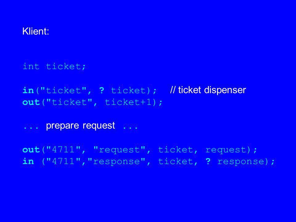 Klient: int ticket; in(
