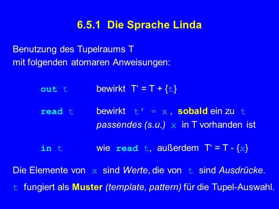6.5.1 Die Sprache Linda Benutzung des Tupelraums T mit folgenden atomaren Anweisungen: out t bewirkt T = T + { t } read t bewirkt t = x, sobald ein zu t passendes (s.u.) x in T vorhanden ist in t wie read t, außerdem T = T - { x } Die Elemente von x sind Werte, die von t sind Ausdrücke.