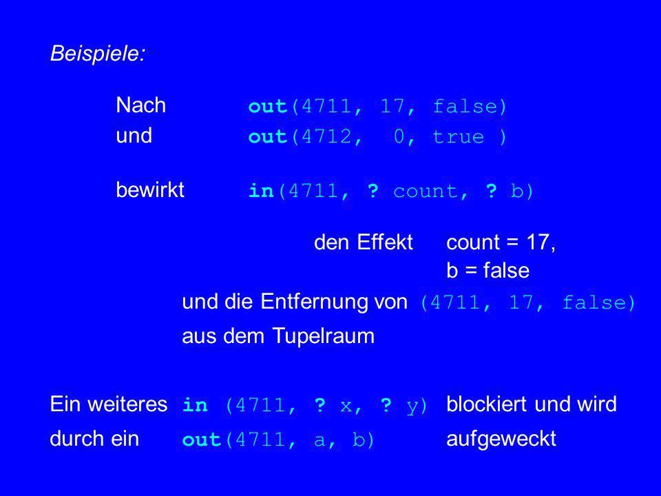 Beispiele: Nach out(4711, 17, false) und out(4712, 0, true ) bewirkt in(4711, ? count, ? b) den Effekt count = 17, b = false und die Entfernung von (4