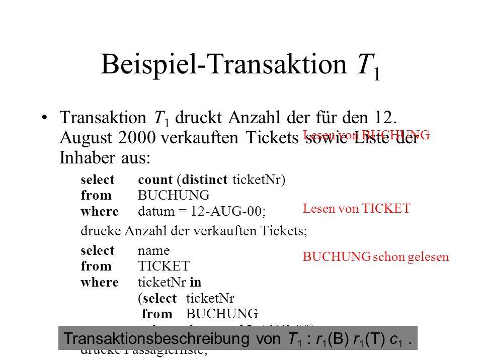 Beispiel-Transaktion T 1 Transaktion T 1 druckt Anzahl der für den 12.