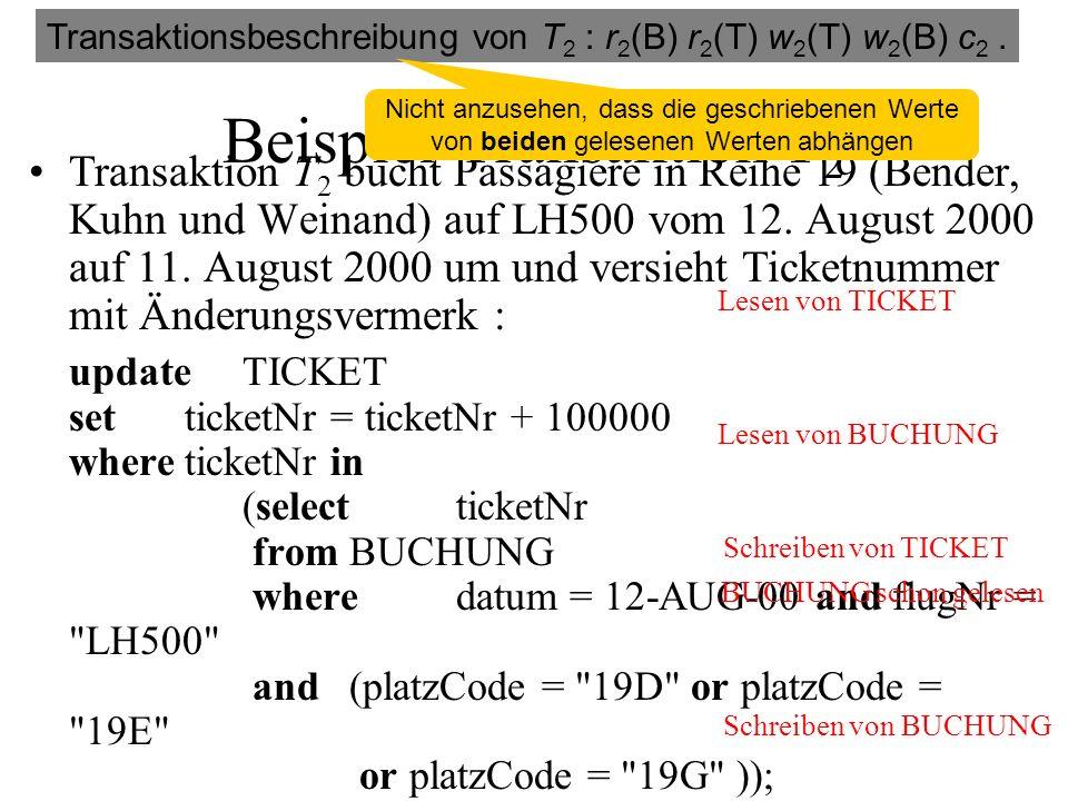 Beispiel-Transaktion T 2 Transaktion T 2 bucht Passagiere in Reihe 19 (Bender, Kuhn und Weinand) auf LH500 vom 12.