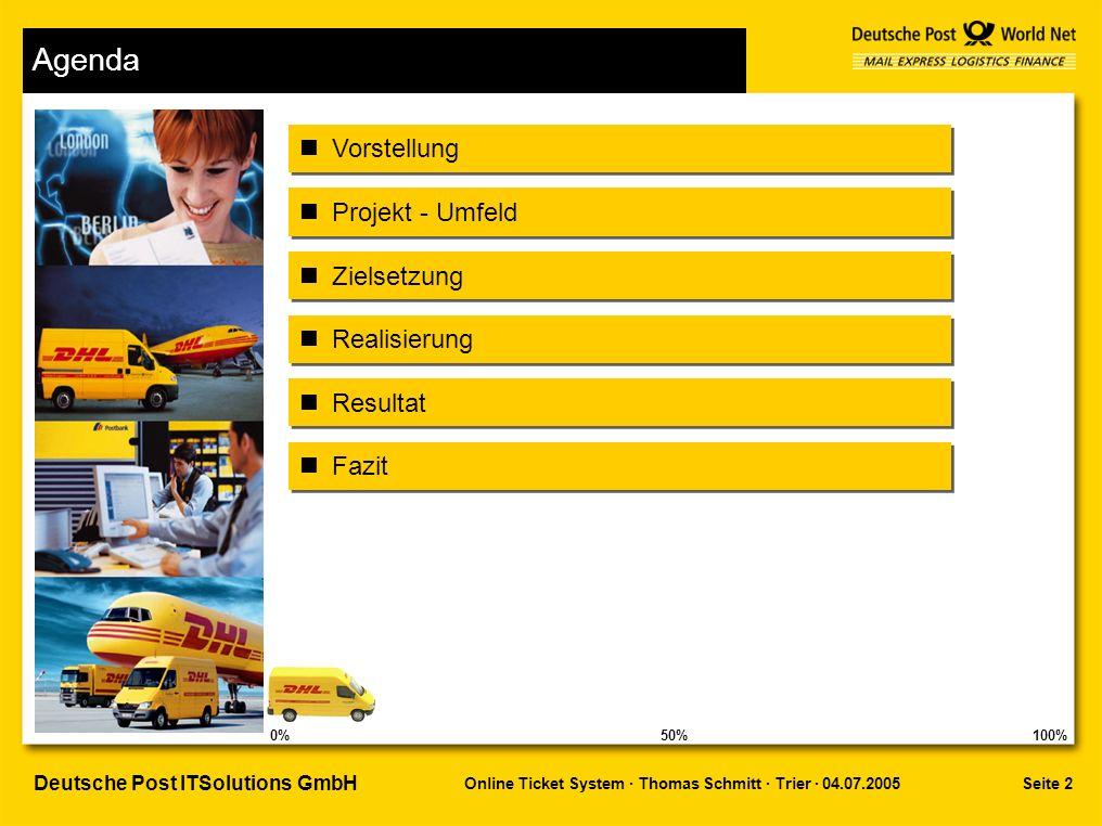 Seite 2 Online Ticket System · Thomas Schmitt · Trier · 04.07.2005 Deutsche Post ITSolutions GmbH Agenda Projekt - Umfeld Zielsetzung Vorstellung Fazit Realisierung Resultat 0%100%50%