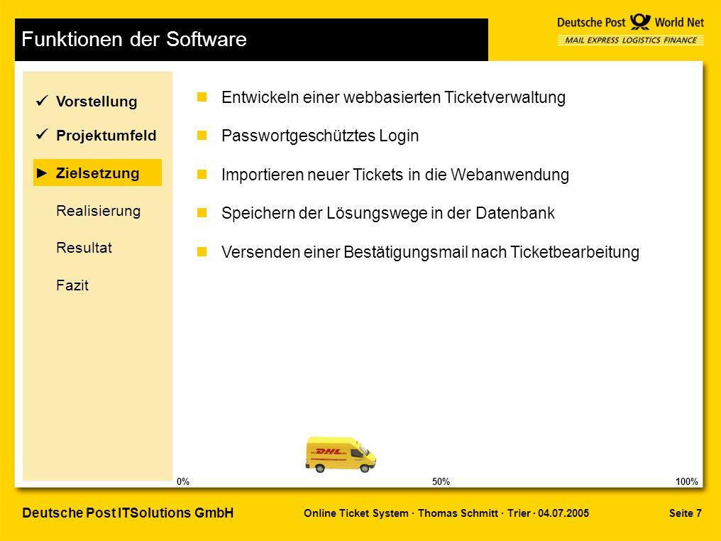 Seite 7 Online Ticket System · Thomas Schmitt · Trier · 04.07.2005 Deutsche Post ITSolutions GmbH Funktionen der Software nEntwickeln einer webbasierten Ticketverwaltung nPasswortgeschütztes Login nImportieren neuer Tickets in die Webanwendung nSpeichern der Lösungswege in der Datenbank nVersenden einer Bestätigungsmail nach Ticketbearbeitung Vorstellung Realisierung Zielsetzung Projektumfeld Resultat Fazit 50%100%0%