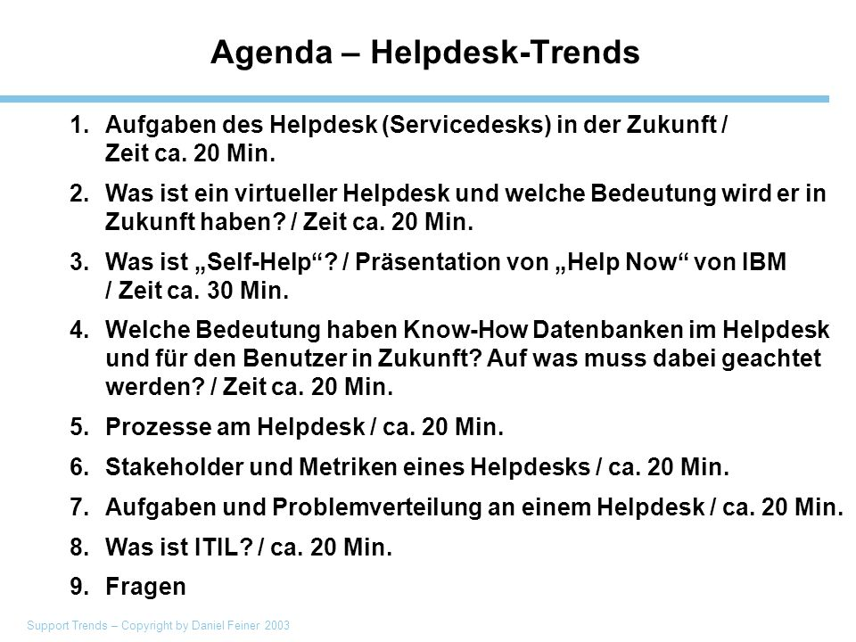Support Trends – Copyright by Daniel Feiner 2003 Helpdesk Trends