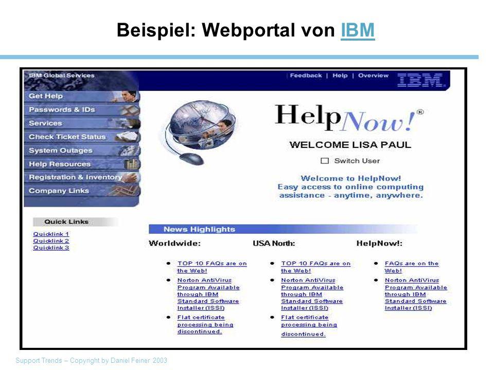 Support Trends – Copyright by Daniel Feiner 2003 Beispiel: Webportal von IBMIBM