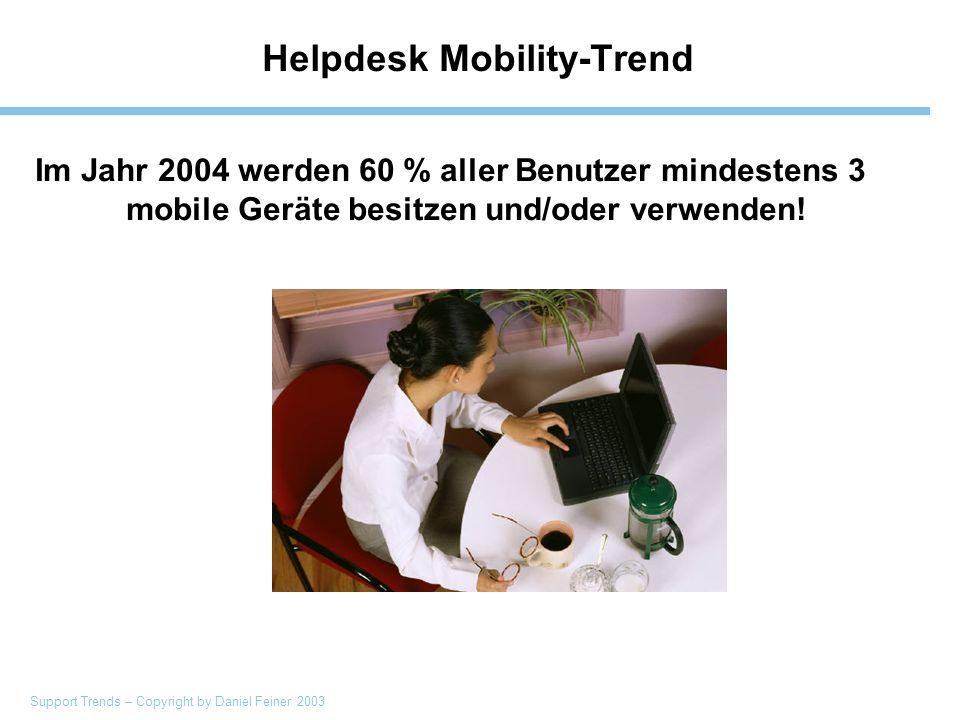 Support Trends – Copyright by Daniel Feiner 2003 Helpdesk Mobility-Trend Im Jahr 2004 werden 60 % aller Benutzer mindestens 3 mobile Geräte besitzen und/oder verwenden!