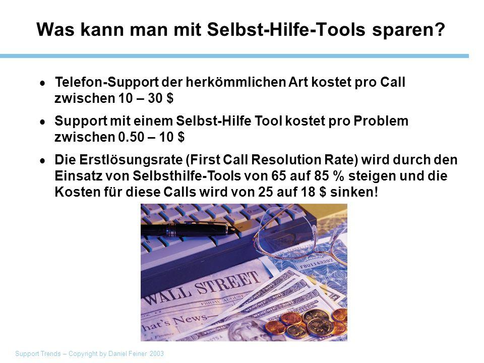 Support Trends – Copyright by Daniel Feiner 2003 Was kann man mit Selbst-Hilfe-Tools sparen.