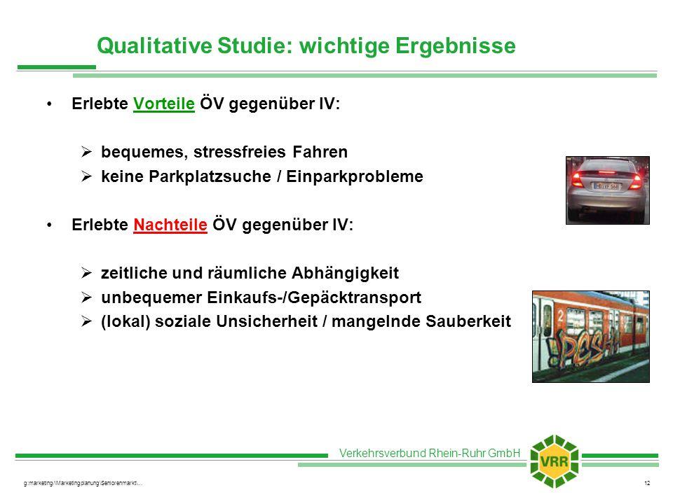Verkehrsverbund Rhein-Ruhr GmbH g:marketing/\Marketingplanung\Seniorenmarkt\...12 Qualitative Studie: wichtige Ergebnisse Erlebte Vorteile ÖV gegenübe