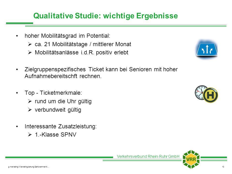 Verkehrsverbund Rhein-Ruhr GmbH g:marketing/\Marketingplanung\Seniorenmarkt\...13 Qualitative Studie: wichtige Ergebnisse hoher Mobilitätsgrad im Pote