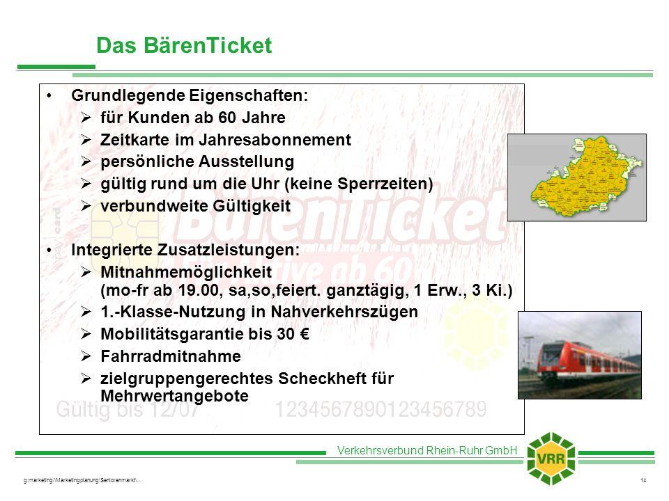 Verkehrsverbund Rhein-Ruhr GmbH g:marketing/\Marketingplanung\Seniorenmarkt\...14 Grundlegende Eigenschaften: für Kunden ab 60 Jahre Zeitkarte im Jahr