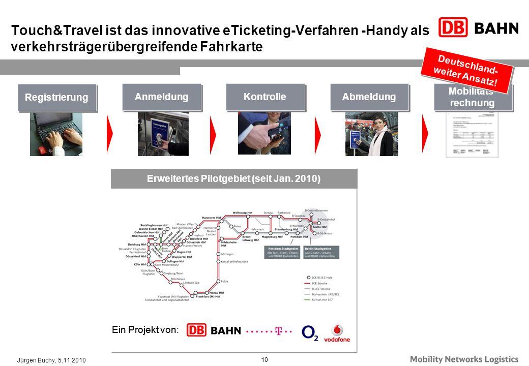 10 Touch&Travel ist das innovative eTicketing-Verfahren -Handy als verkehrsträgerübergreifende Fahrkarte Registrierung Kontrolle Mobilitäts- rechnung