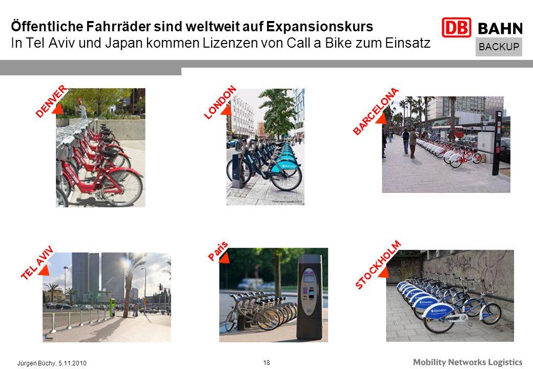 Jürgen Büchy, 5.11.2010 18 Öffentliche Fahrräder sind weltweit auf Expansionskurs In Tel Aviv und Japan kommen Lizenzen von Call a Bike zum Einsatz BA
