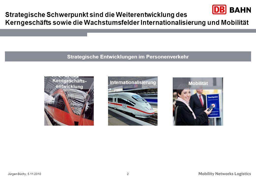 2Jürgen Büchy, 5.11.2010 Strategische Entwicklungen im Personenverkehr Strategische Schwerpunkt sind die Weiterentwicklung des Kerngeschäfts sowie die