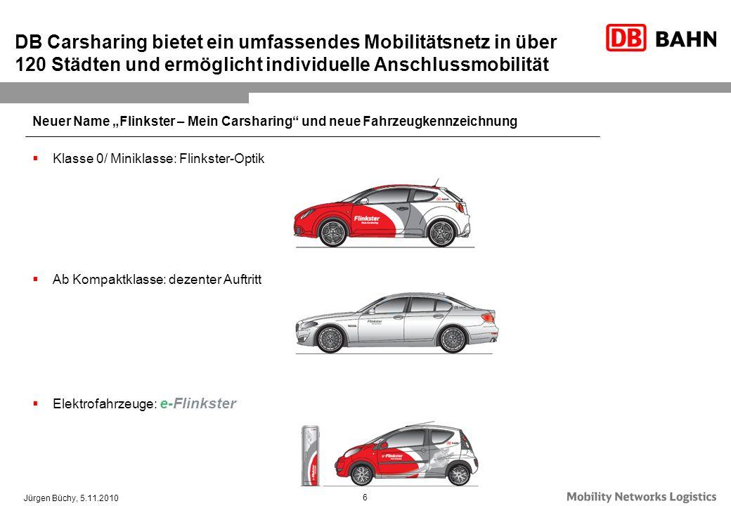 Jürgen Büchy, 5.11.2010 6 DB Carsharing bietet ein umfassendes Mobilitätsnetz in über 120 Städten und ermöglicht individuelle Anschlussmobilität Neuer
