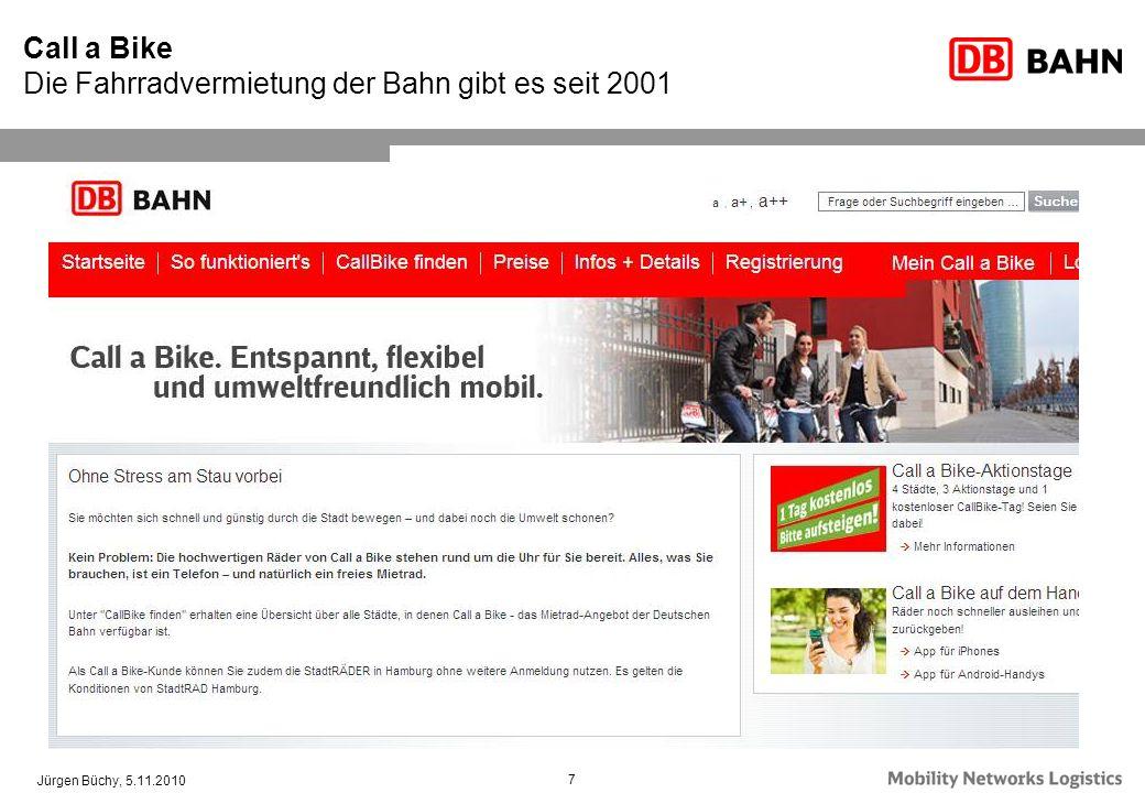 Jürgen Büchy, 5.11.2010 7 Call a Bike Die Fahrradvermietung der Bahn gibt es seit 2001