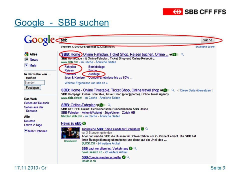 17.11.2010 / CrSeite 4 Homepage mit Fahrplan/Ticket Shop http://sbb.ch/http://sbb.ch/