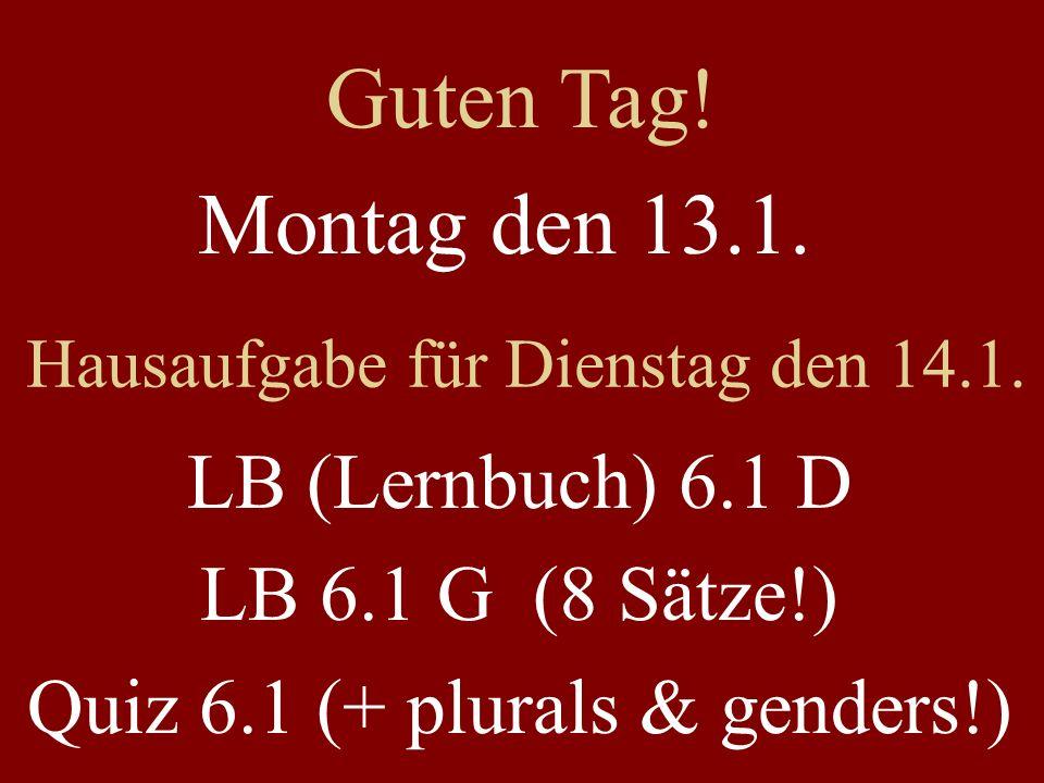 Montag den 13.1. Hausaufgabe für Dienstag den 14.1. LB (Lernbuch) 6.1 D LB 6.1 G (8 Sätze!) Quiz 6.1 (+ plurals & genders!) Guten Tag!