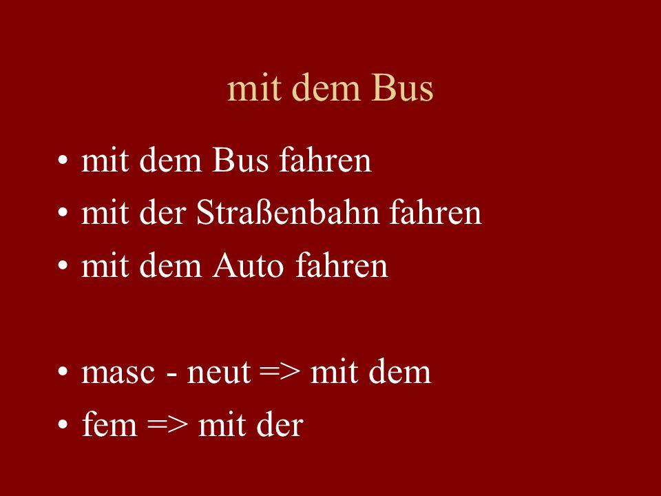 mit dem Bus mit dem Bus fahren mit der Straßenbahn fahren mit dem Auto fahren masc - neut => mit dem fem => mit der