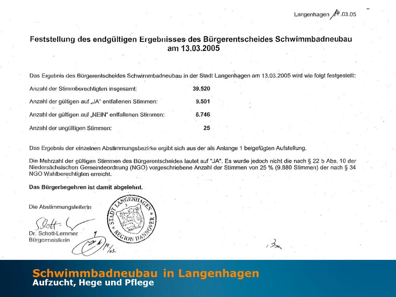 Schwimmbadneubau in Langenhagen Aufzucht, Hege und Pflege Juli 2003 Februar 2012