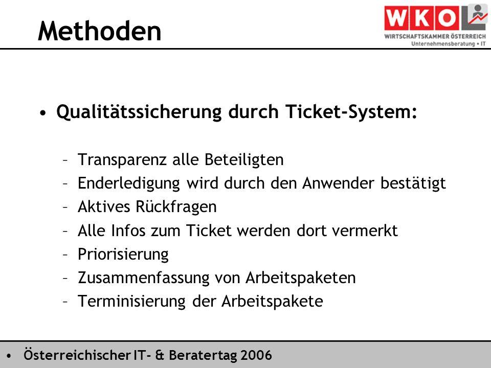 Österreichischer IT- & Beratertag 2006 Methoden Qualitätssicherung durch Ticket-System: –Transparenz alle Beteiligten –Enderledigung wird durch den Anwender bestätigt –Aktives Rückfragen –Alle Infos zum Ticket werden dort vermerkt –Priorisierung –Zusammenfassung von Arbeitspaketen –Terminisierung der Arbeitspakete