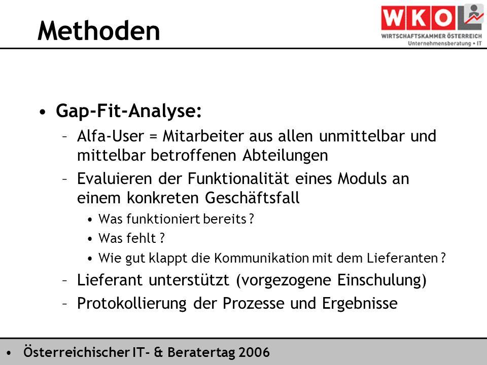 Österreichischer IT- & Beratertag 2006 Methoden Gap-Fit-Analyse: –Alfa-User = Mitarbeiter aus allen unmittelbar und mittelbar betroffenen Abteilungen –Evaluieren der Funktionalität eines Moduls an einem konkreten Geschäftsfall Was funktioniert bereits .