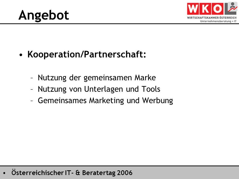 Österreichischer IT- & Beratertag 2006 Angebot Kooperation/Partnerschaft: –Nutzung der gemeinsamen Marke –Nutzung von Unterlagen und Tools –Gemeinsames Marketing und Werbung