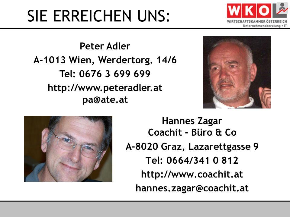 Österreichischer IT- & Beratertag 2006 SIE ERREICHEN UNS: Hannes Zagar Coachit - Büro & Co A-8020 Graz, Lazarettgasse 9 Tel: 0664/341 0 812 http://www.coachit.at hannes.zagar@coachit.at Peter Adler A-1013 Wien, Werdertorg.