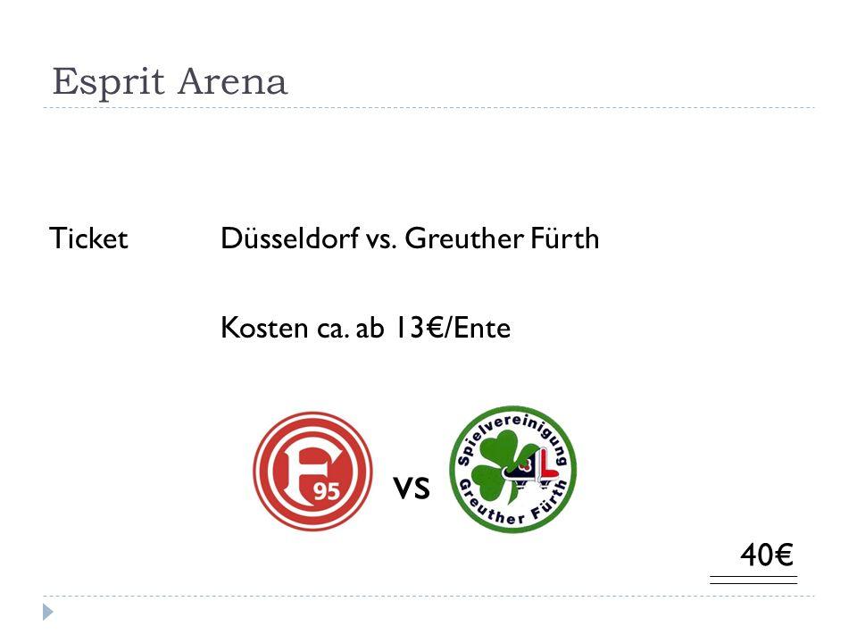 Esprit Arena Ticket Düsseldorf vs. Greuther Fürth Kosten ca. ab 13/Ente 40 vs