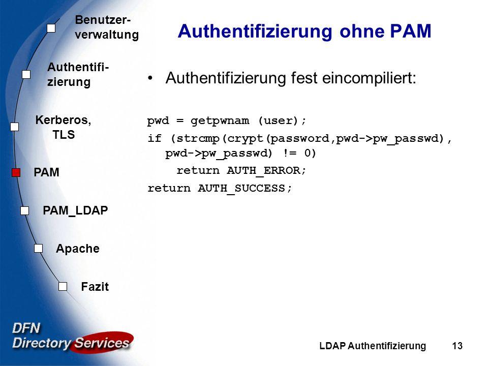 Benutzer- verwaltung Authentifi- zierung Kerberos, TLS PAM Fazit Apache PAM_LDAP LDAP Authentifizierung13 Authentifizierung ohne PAM Authentifizierung