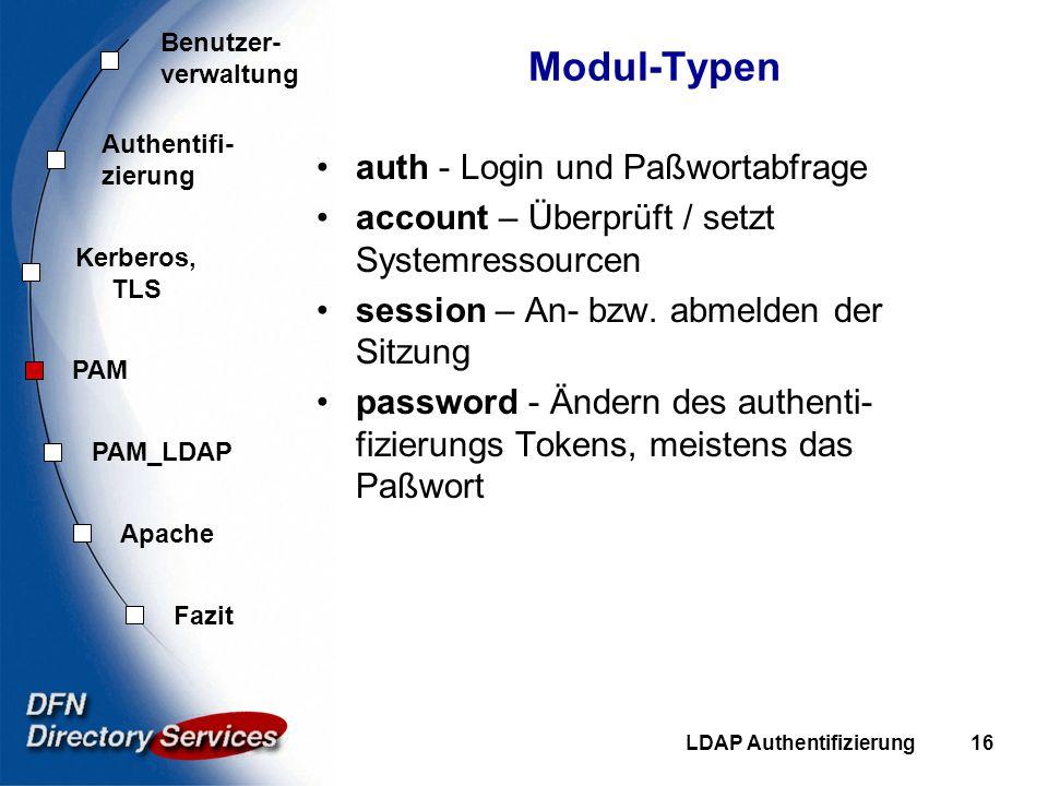 Benutzer- verwaltung Authentifi- zierung Kerberos, TLS PAM Fazit Apache PAM_LDAP LDAP Authentifizierung16 Modul-Typen auth - Login und Paßwortabfrage