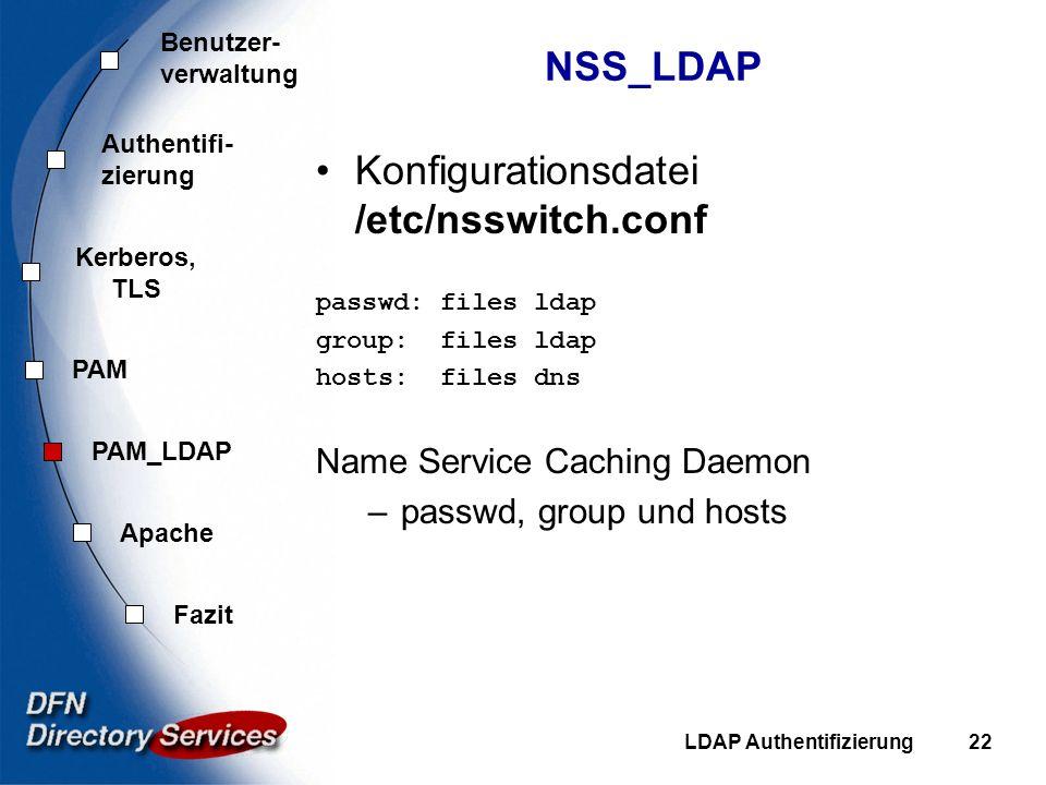 Benutzer- verwaltung Authentifi- zierung Kerberos, TLS PAM Fazit Apache PAM_LDAP LDAP Authentifizierung22 NSS_LDAP Konfigurationsdatei /etc/nsswitch.c