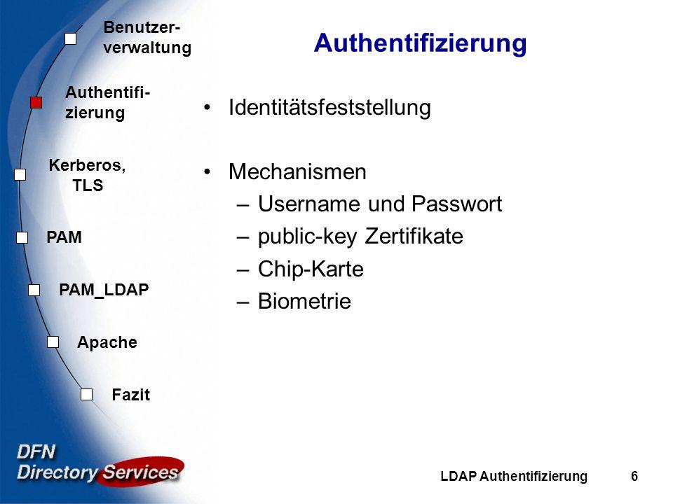Benutzer- verwaltung Authentifi- zierung Kerberos, TLS PAM Fazit Apache PAM_LDAP LDAP Authentifizierung17 Control-Flags required - Erfolg des Moduls ist zwingend, trotzdem weitere abarbeiten requisite - ähnlich, aber bei Mißerfolg sofort abbrechen sufficient - Bei Erfolg sofort abbrechen, folgende Module werden ignoriert optional - Ergebnis des Moduls wird ignoriert