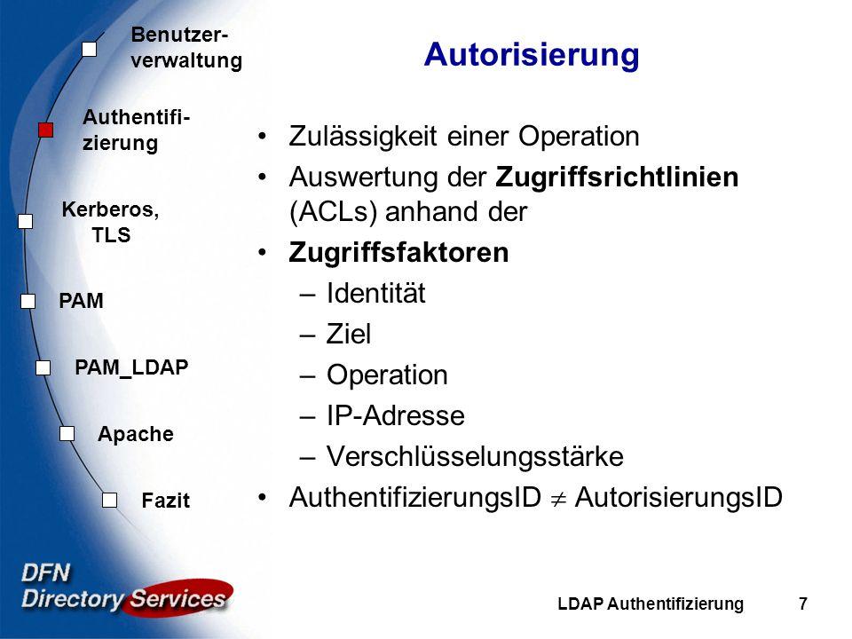 Benutzer- verwaltung Authentifi- zierung Kerberos, TLS PAM Fazit Apache PAM_LDAP LDAP Authentifizierung8 Authentifizierungs-Verfahren in LDAP (rfc2829) anonym simple bind (plain text) SASL (Simple Authentication and Security Layer, rfc2222) –Challenge-Response (Digest-MD5) –GSSAPI (Kerberos 5) –EXTERNAL