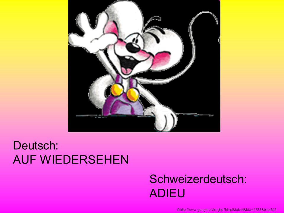 Deutsch: AUF WIEDERSEHEN Schweizerdeutsch: ADIEU ©http://www.google.pl/imghp?hl=pl&tab=ii&biw=1333&bih=645