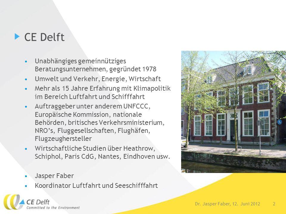 2Dr. Jasper Faber, 12. Juni 2012 CE Delft Unabhängiges gemeinnütziges Beratungsunternehmen, gegründet 1978 Umwelt und Verkehr, Energie, Wirtschaft Meh