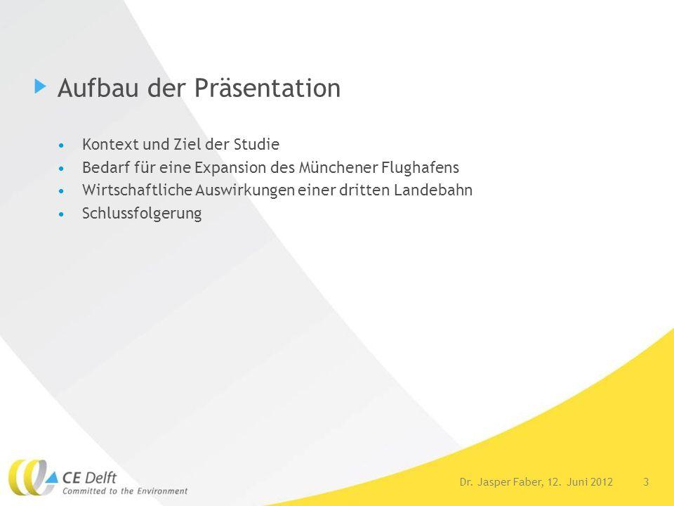 3Dr. Jasper Faber, 12. Juni 2012 Aufbau der Präsentation Kontext und Ziel der Studie Bedarf für eine Expansion des Münchener Flughafens Wirtschaftlich